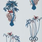 W0101/01 JUNGLE PALMS Blue Clarke & Clarke Wallpaper